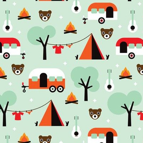 Retro Camping Canada woodland kids adventure mint pattern