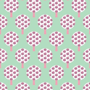 Retro apple tree mint forest pattern