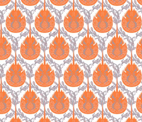 horseshoe crab damask-brighter fabric by lynnbishopdesign on Spoonflower - custom fabric