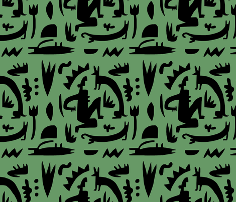 green silouette fabric by kimmurton on Spoonflower - custom fabric