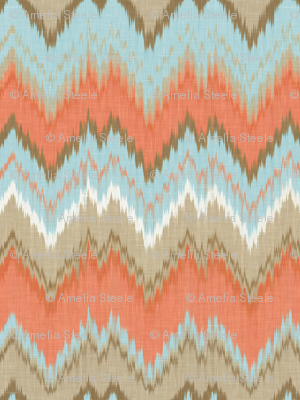 Ikat Chevron in Blue and Coral