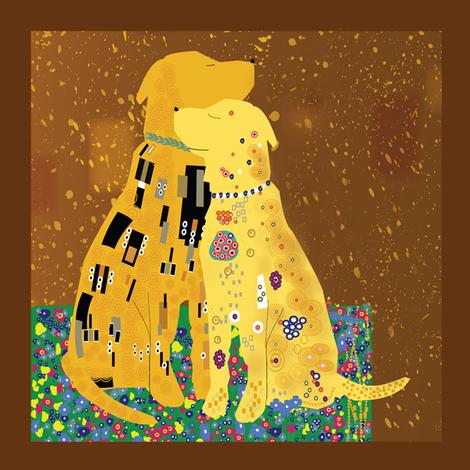 Klimts_Kanines_8x8_copy fabric by higmeister on Spoonflower - custom fabric