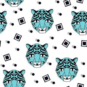 Rad Tiger Face - Aqua Blue by Andrea Lauren