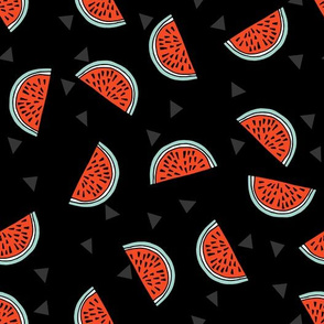 Watermelons - Black/Cardinal Red by Andrea Lauren