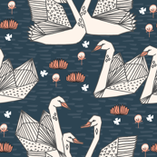 swans // geometric swans navy blue dark blue smaller version swan in the lily pond water lilies girls