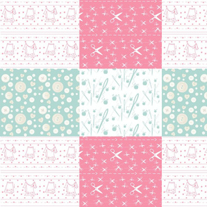 Notions Quilt  - 14x12 wholecloth watermelon mint