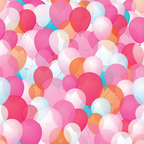 Happy balloons in PINK fabric by smileysunday on Spoonflower - custom fabric