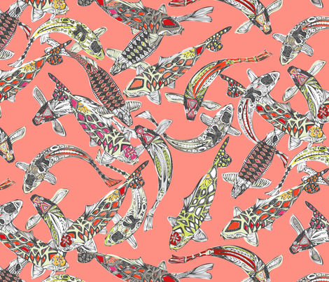lucky koi coral fabric by scrummy on Spoonflower - custom fabric