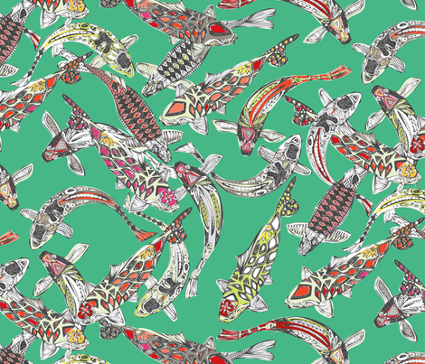 lucky koi green fabric by scrummy on Spoonflower - custom fabric