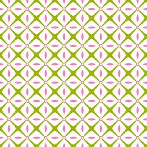 Interspersed     -Azalea Pink & Spring Green on White