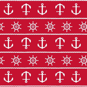 Nautical Anchor On Red