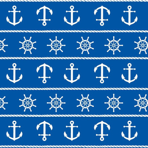 Nautical Anchor On Blue