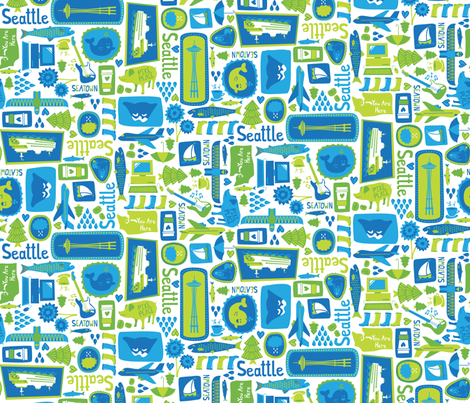 Sights of Seattle fabric by robyriker on Spoonflower - custom fabric