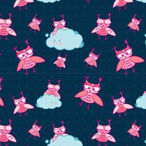 Cute sleepy night owls pattern