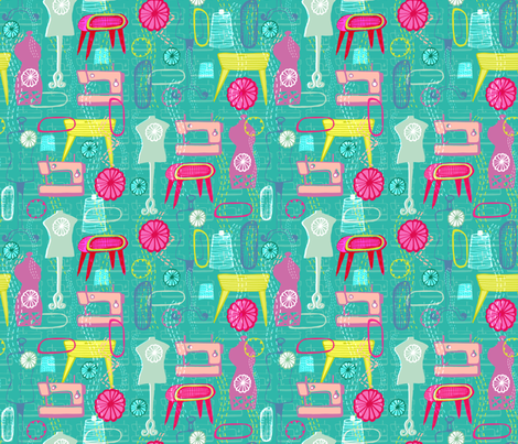 Atomic Sewing fabric by slumbermonkey on Spoonflower - custom fabric