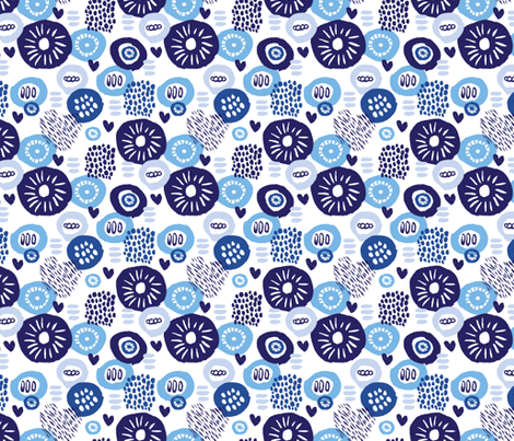 Indigo blue abstract flowers fabric by littlesmilemakers on Spoonflower - custom fabric