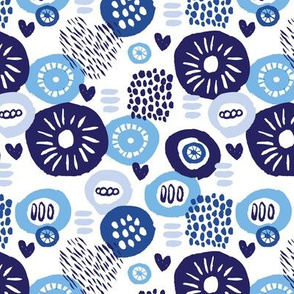 Indigo blue abstract flowers