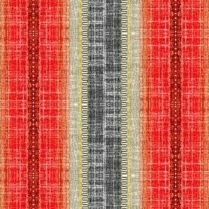 Scandi stripe in faux linen Pepper Red