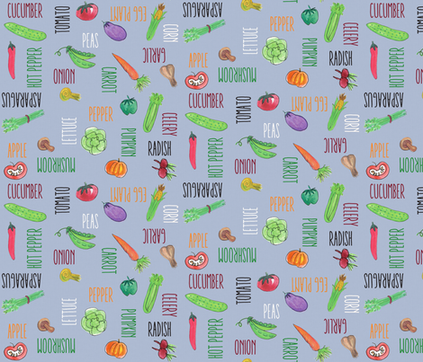 Grey Textured Veggies fabric by pamela_hamilton on Spoonflower - custom fabric