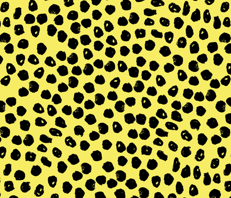 dots // bright yellow dot fabric inky dots design black and yellow ...