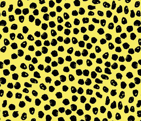 dots // bright yellow dot fabric inky dots design black and yellow dots bumble bee fabric fabric by andrea_lauren on Spoonflower - custom fabric