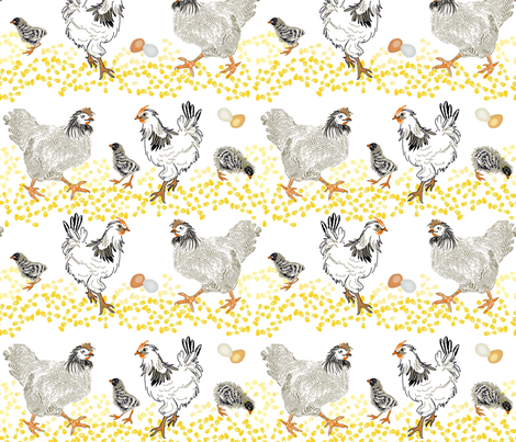 Chicken-n-Corn Rows fabric by wren_leyland on Spoonflower - custom fabric