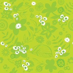 Hibiscus pattern in bright greens