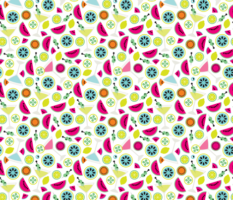 Cocktail summer fruit colorful illustration pattern fabric by littlesmilemakers on Spoonflower - custom fabric