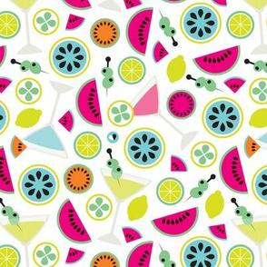 Cocktail summer fruit colorful illustration pattern