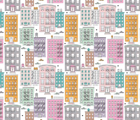New York City brownstones house windows water tank and homes fabric by littlesmilemakers on Spoonflower - custom fabric
