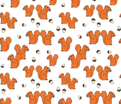 squirrels // squirrel orange fall autumn kids woodland forest animal fabric by andrea_lauren on Spoonflower - custom fabric