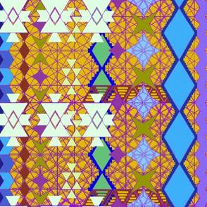 aztec universe pattern in mustard