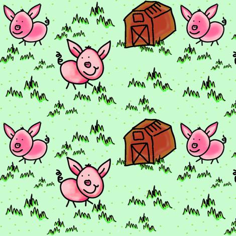 Happy Bacon, Little Pink Farm Pigs fabric by bohobear on Spoonflower - custom fabric