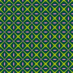 Interspersed   -azalea pink & spring green on dark green