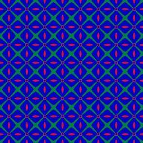 Interspersed   -red & emerald green on bright blue