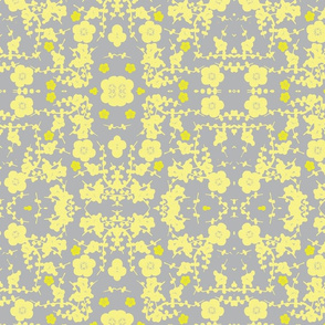 yellow and grey cherry blossoms