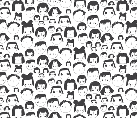 Faces White fabric by zoe_ingram on Spoonflower - custom fabric