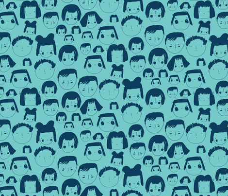 Faces Blue fabric by zoe_ingram on Spoonflower - custom fabric