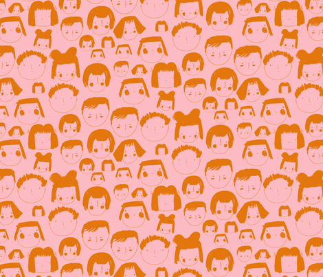 Faces Pink fabric by zoe_ingram on Spoonflower - custom fabric