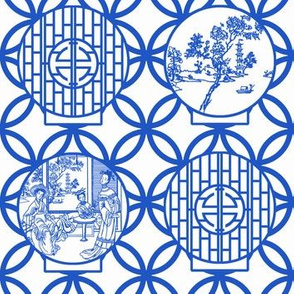 Chinoiserie Scenes through a white-based moon gate, blue by Su_G