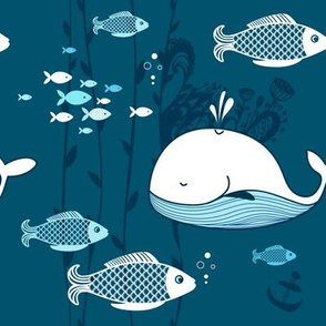 Fish and whale pattern