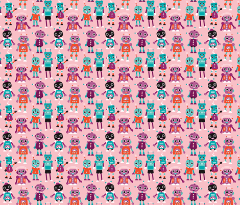 Cool colorful robots for girls fabric by littlesmilemakers on Spoonflower - custom fabric