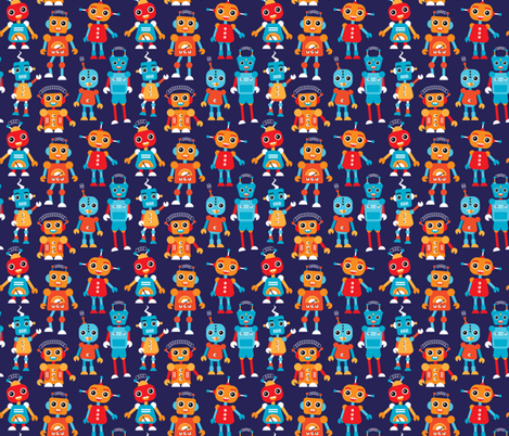 Cool colorful robots for boys fabric by littlesmilemakers on Spoonflower - custom fabric