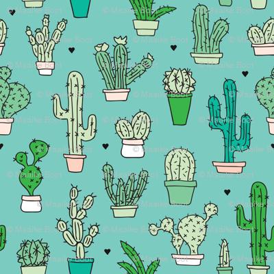 Cactus cacti garden botanical green pattern