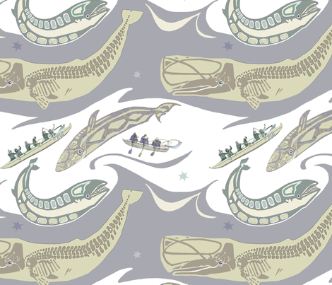 Outrigger Whale Watch  fabric by wren_leyland on Spoonflower - custom fabric