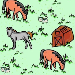 Happy Ponies and a Cat