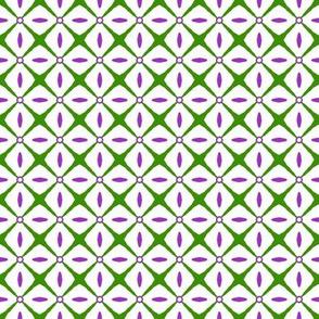 Interspersed   -purple & green on white