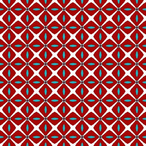 Interspersed   -white & turquoise on dark red