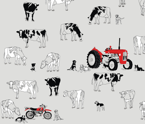 Dairy farm Pace of Life fabric by smuk on Spoonflower - custom fabric