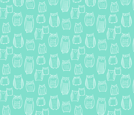 Little Night Owl Mint fabric by leanne on Spoonflower - custom fabric